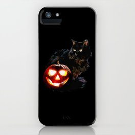 black cat and Pumpkin iPhone Case