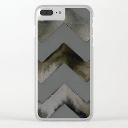 Chevrons — Gray and Gold Clear iPhone Case
