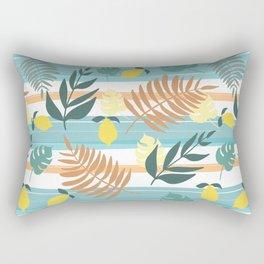 Botanical Collage With Stripes Rectangular Pillow