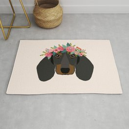 Dachshund floral crown dog breed pet art dachshunds doxie pupper gifts Rug
