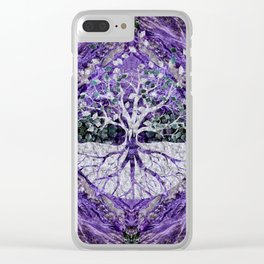 Silver Tree of Life Yggdrasil on Amethyst Geode Clear iPhone Case