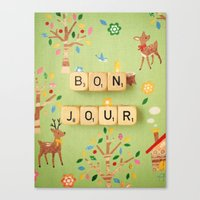 bonjour Canvas Prints featuring Bonjour by happeemonkee