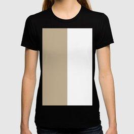 White and Khaki Brown Vertical Halves T-shirt