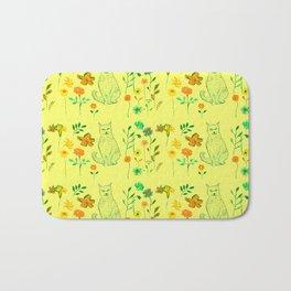 Cat in the garden - Pattern Bath Mat