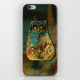 Cute Boho Style cat on paint texture and gold outline iPhone Skin