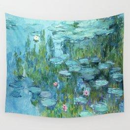 Claude Monet Water Lilies / Nymphéas teal aqua Wall Tapestry