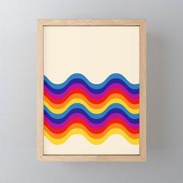 Wavy retro rainbow Framed Mini Art Print