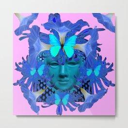 BLUE BUTTERFLIES MORNING GLORY MASQUERADE ART Metal Print