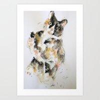 kitty Art Prints featuring Kitty by Oriane Jouët