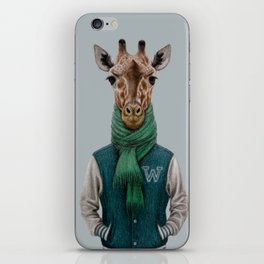 the giraffe in jacket. iPhone Skin