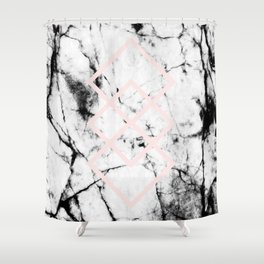 White Marble Concrete Look Blush Pink Geometric Squares Shower Curtain