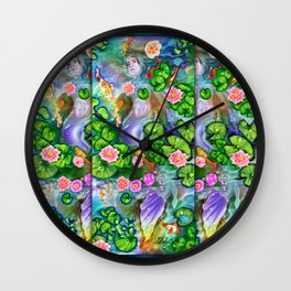 Mermaid in the lily pond Wall Clock