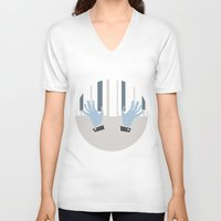 piano V-neck T-shirts featuring piano by liva cabule