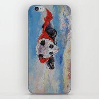 superhero iPhone & iPod Skins featuring Panda Superhero by Michael Creese