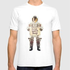 Space hugs Mens Fitted Tee MEDIUM White