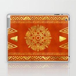 Gold Aztec Calendar Sun symbol Laptop & iPad Skin