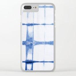 Shibori Blue - Rectangles Clear iPhone Case