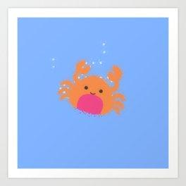 Orange Cartoon Crab Art Print