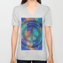 Tie-Dye Peace Mandala Neg Unisex V-Neck