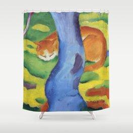 """Franz Marc """"Children's Picture: Cat behind a Tree (Kinderbild: Katze hinter einem Baum)"""" Shower Curtain"""