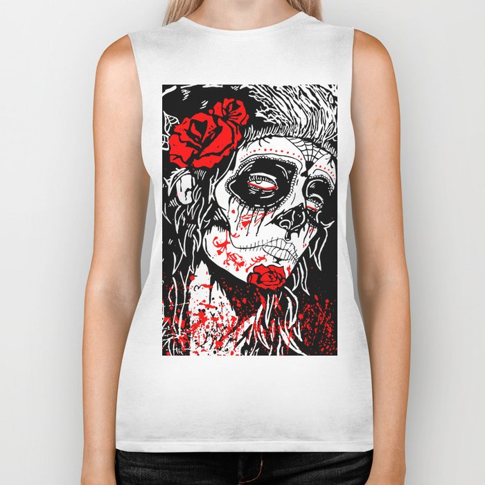 Girl With Sugar Skull, Day of the Dead Biker Tank