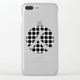 Plaid Dark Black Person Clear iPhone Case