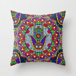 Hamsa Harmony Mandala Throw Pillow