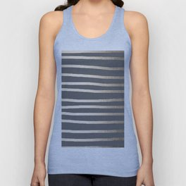 Simply Drawn Stripes White Gold Sands on Storm Gray Unisex Tank Top