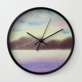 Mountain and Sea 4 / Watercolor Painting Wall Clock