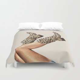 These Boots - Leopard Print Duvet Cover