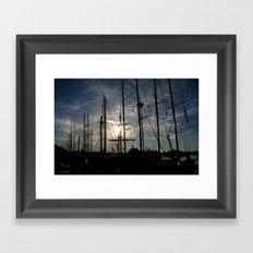 sailboat on the sunrise Framed Art Print