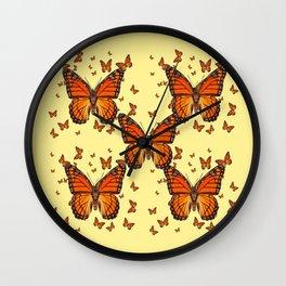 ORANGE MONARCH BUTTERFLIES CREAM  MODERN ART MONTAGE FOR the Wall Clock