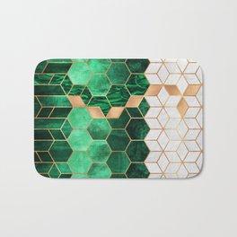 Emerald Cubes And Hexagons Bath Mat