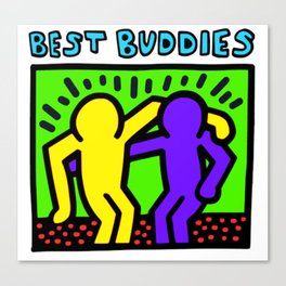 """Keith Haring inspired """"Best Buddies"""" Complementary Color Y&P edition Canvas Print"""