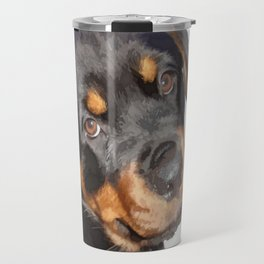 Female Rottweiler Puppy Making Eye Contact Vector Isolated Travel Mug