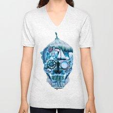 Skull Ocean Blue Unisex V-Neck
