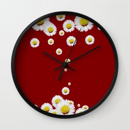 WHITE CASCADING DAISIES ON BURGUNDY Wall Clock