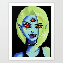 Blue Rocker girl monster Art Print