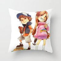 gravity falls Throw Pillows featuring Gravity Falls by Archiri Usagi