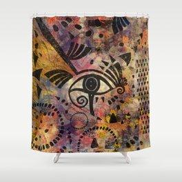 Eye of Horus - Mixed Media Abstract Shower Curtain
