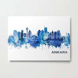 Ankara Turkey Skyline Blue Metal Print