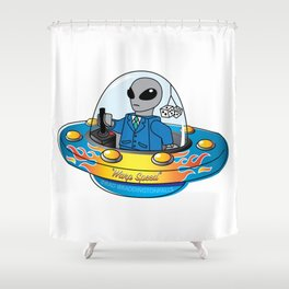 "Alien Spaceship ""Warp Speed"" Shower Curtain"
