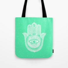 Hamsa lucky green Tote Bag
