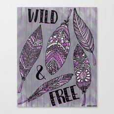Wild & Free Feathers. Purple & Grey Edition Canvas Print