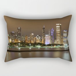 Beautiful river side city view in the night with colorful lights and tall buildings Rectangular Pillow