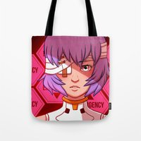 evangelion Tote Bags featuring Evangelion: Rei Ayanami by Kelly Kao