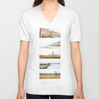denmark V-neck T-shirts featuring Denmark by Delphine Comte