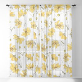 Yellow Cosmos Flowers Sheer Curtain