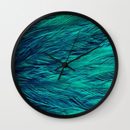 Teal Feathers Wall Clock