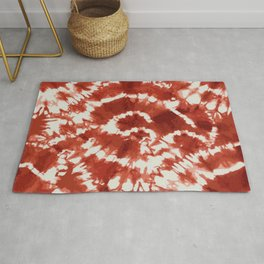 Brownish Red Unique Traditional Abstract Tie Dye Patterned Print Rug